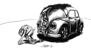 Vagina-faced Volkswagon beetle